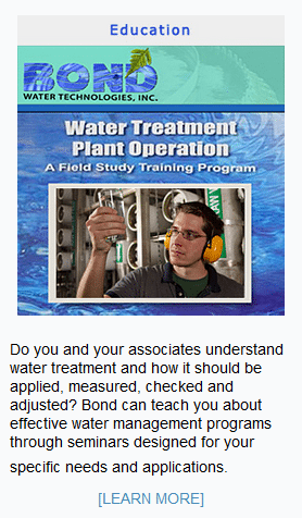 Do you and your associates understand water treatment and how it should be applied, measured, checked and adjusted? Bond can teach you about effective water management programs through seminars designed for your specific needs and applications.